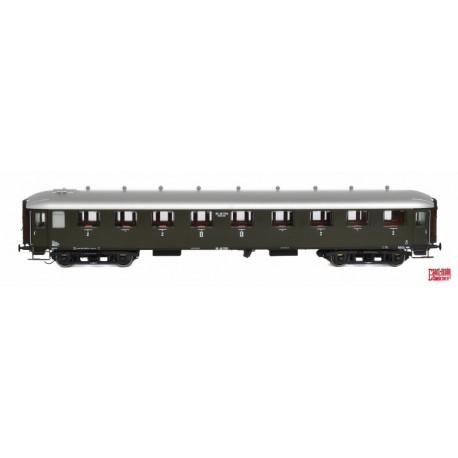 Voiture NS AB7523 vert olive, toit argenté HO Exact-Train. Epoque II