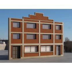 Façade entrepôt / usine béton & briques R+2 - Echelle HO