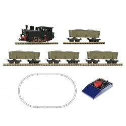 """Coffret départ Roco analogique HOe 31029 Loco vapeur """"Feldbahn"""" et 4 wagonnets Ep II-IV"""