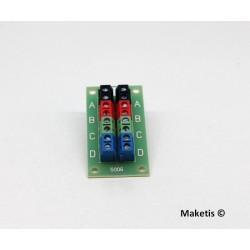 Bornier de distribution 4 couleurs 2x8 bornes