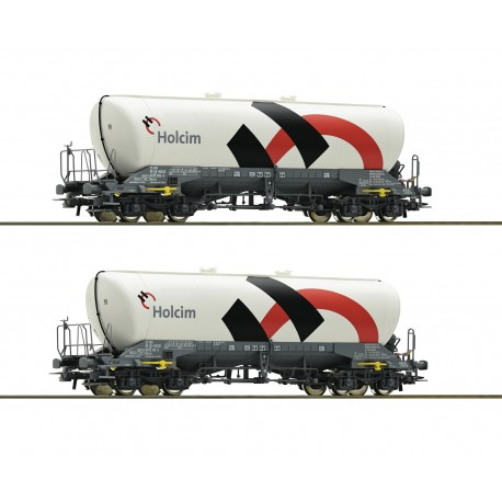 Set de 2 wagons silo pulvérulents Uacns Holcim Ep VI HO Roco 76145