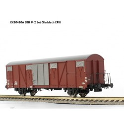Set de 2 wagons couverts CFF-SBB J4 Ep III HO Exact-Train EX20420