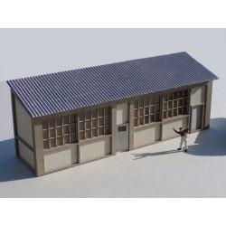Appentis d'Atelier murs en briques - Echelle HO Cités-Miniatures ED-028-2-HO-V2