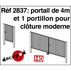 4m gate and 1 wicket gate for modern fencing H0 Decapod 2837 - Maketis