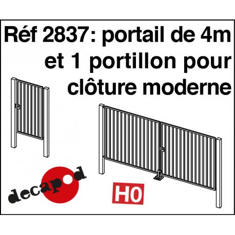 Portail de 4 m et 1 portillon pour clôture moderne HO Decapod 2837 - Maketis