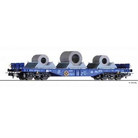 Wagon plat à bogies Sgmmns ERR et 3 Coils sur berceau Ep VI HO Tillig 76749