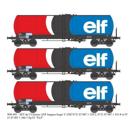 "SET 3 wagons citerne ANF longues Ep.IV ""ELF"" HO REE WB-495"