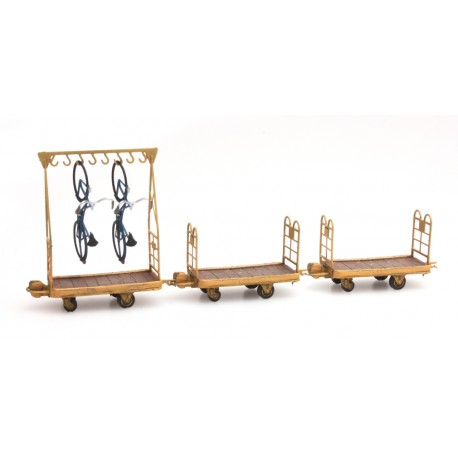 Set 2 chariots bagages et 1 chariot porte vélos HO Artitec DE-011