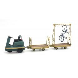 Set 1 tracteur PEG + 1 chariot bagages + 1 porte vélos HO Artitec DE-010