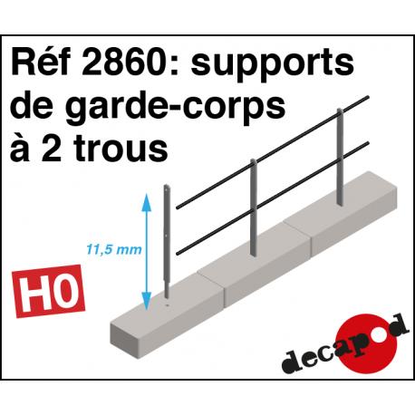 Guardrail brackets with 2 holes H0 Decapod 2860 - Maketis