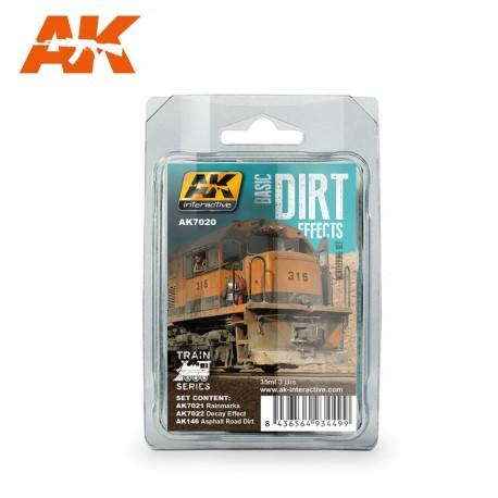 Set patine Effets de saleté basiques pour trains 3x35 ml AK Interactive AK7020