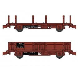 Set 2 wagonnets Draisine (Plat à ranchers + Tombereau) Ep III HO REE WB-485
