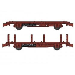 Set 2 wagonnets Draisine (Plat + Plat à ranchers) Ep III HO REE WB-488