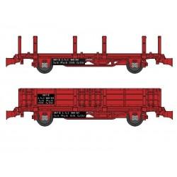 Set 2 wagonnets Draisine (Plat à ranchers + Tombereau) Ep IV HO REE WB-489