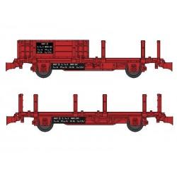 Set 2 wagonnets Draisine (Plat à ridelles + Plat à ranchers) Ep IV HO REE WB-492