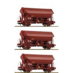 Coffret de 3 pièces: Wagons à toit pivotant, SNCF Ep IV HO Roco 76178