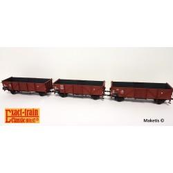 Set de 3 wagons tombereaux DB Klagenfurt Omm34 et Omm37 Ep III HO Exact-Train EX20141