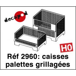 Caisses palettes grillagées (4 pcs) HO Decapod 2960