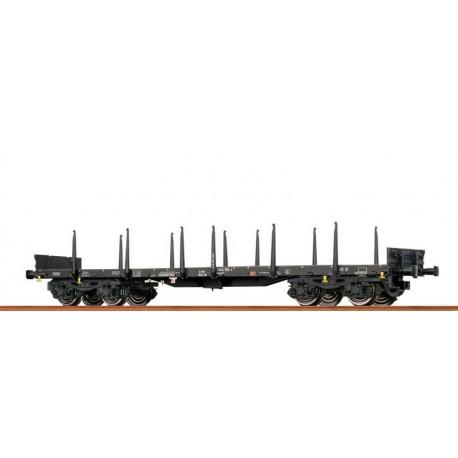 Wagon plat à bogies type Rmms 663 DB Ep VI HO Brawa 47113 - Maketis