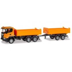 Camion benne Scania CG 17 HZ 6x6 et remorque avec benne HO Herpa 309738 - Maketis
