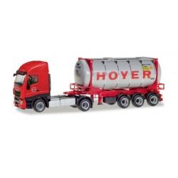 """Tracteur Iveco Stralis XP et porte-conteneur """"Hoyer Chemie"""" HO Herpa 309813 - Maketis"""