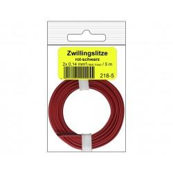 Câblage souple multibrins double 0,14 mm² / 5 m rouge-noir Donau 218-5SB - Maketis