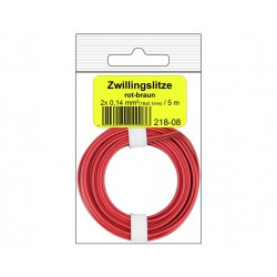 Câblage souple multibrins double 0,14 mm² / 5 m rouge-brun Donau 218-08SB - Maketis
