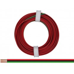 Câblage souple multibrins triple 0,14 mm² / 5 m rouge-noir-vert Donau 318-014 - Maketis