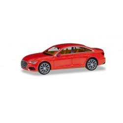 Audi A6 ® Limousine, rouge vif, avec jantes bicolores, HO, Herpa 430678-004
