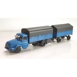 Camion Willeme Bleu Bâché + remorque bâchée HO REE CB-106 - Maketis