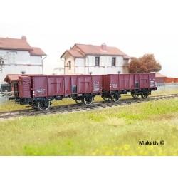 Set de 2 wagons tombereaux OCEM 29 Rouge Sideros EP II PLM HO REE WB-477 - Maketis