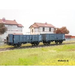 Set de 2 wagons tombereaux OCEM 29 Gris EP II AL HO REE WB-476 - Maketis