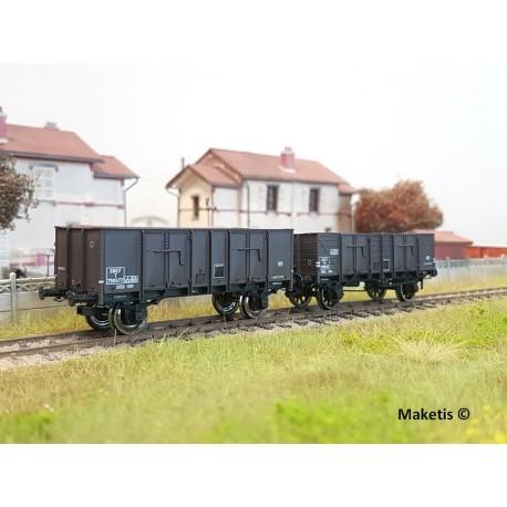 Set de 2 wagons tombereaux OCEM 29 Brun EP III SNCF HO REE WB-481 - Maketis
