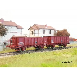 Set de 2 wagons tombereaux OCEM 29 Brun rouge EP III SNCF HO REE WB-479