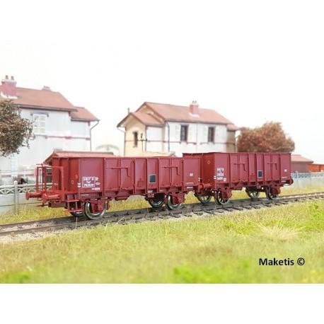 Set de 2 wagons tombereaux OCEM 29 Brun rouge EP III SNCF HO REE WB-479 - Maketis