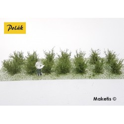 Petits buissons 14 mm vert savane flocage très fin (14 pcs) Polak 9101- Maketis