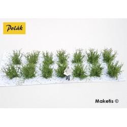 Petits buissons 14 mm vert clair flocage très fin (14 pcs) Polak 9102- Maketis