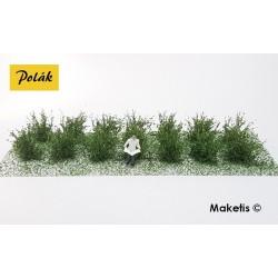 Petits buissons 14 mm vert moyen flocage très fin (14 pcs) Polak 9104- Maketis