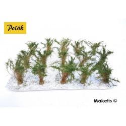 Grands buissons 35-45 mm vert chêne flocage très fin (15 pcs) Polak 9205- Maketis