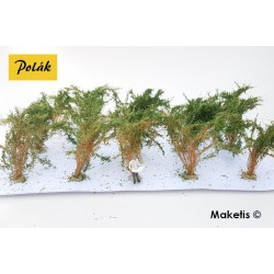 Grands buissons 35-45 mm vert moyen flocage très fin (15 pcs) Polak 9214- Maketis