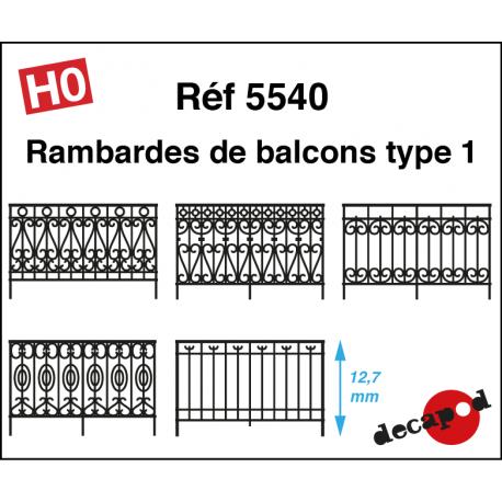 Balcony railings type 1 H0 Decapod 5540 - Maketis