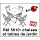 Chaises et tables de jardin [HO]