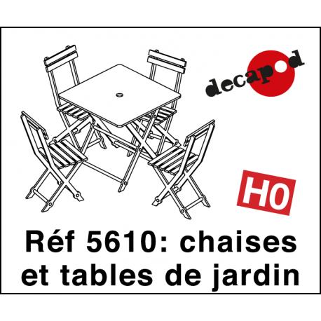 Chaises et tables de jardin (12 pcs) HO Decapod 5610 - Maketis