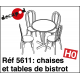 Chaises et tables de bistrot (15 pcs) HO Decapod 5611 - Maketis