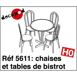 Bistro chairs and tables (15 pcs) H0 Decapod 5611