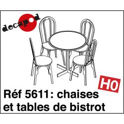 Chaises et tables de bistrot (15 pcs) HO Decapod 5611 - Maketis