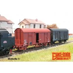 Set de 2 wagons couverts Oppeln SNCF boite essieux SKF Ep III HO Exact-Train EX20231