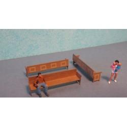 5 Bancs en bois (grand modèles pour intérieurs BV) Echelle HO Cités Miniatures ED-120-HO