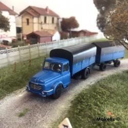 Camion Willeme Bleu Bâché + remorque bâchée HO REE CB-106- Maketis