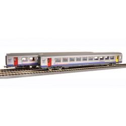 Set 2 voitures Corail TER Bourgogne 1 et 2ème classe SNCF Ep VI HO PIKO 58654